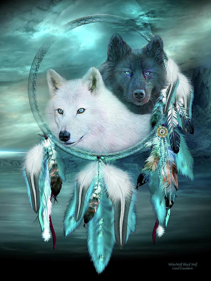 dream-catcher-white-wolf-black-wolf-carol-cavalaris